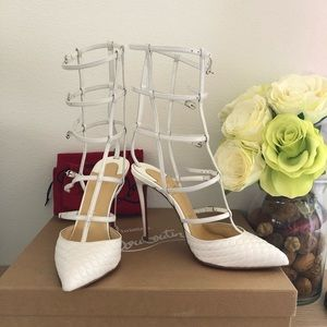 Authentic Christian Louboutin White Caged Heel